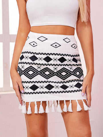 White Mid Waist Tassel Hem Tribal Skirt