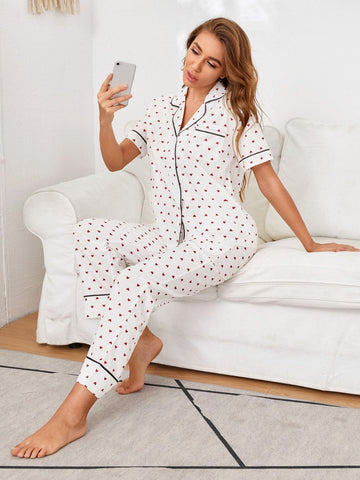 Contrast Binding Short Sleeve Allover Heart Print Piping Trim Sleepwear Set