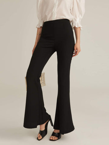Zipper Fly Flare Leg Solid Pants