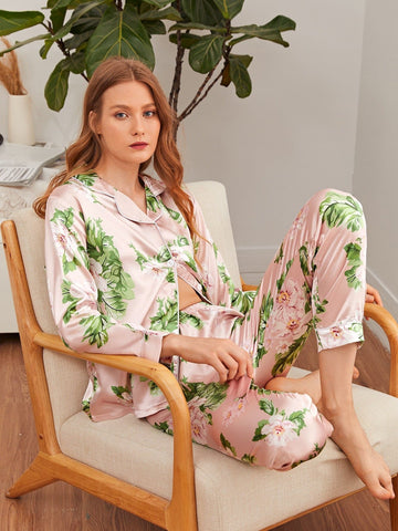 Floral Print Contrast Binding Satin Trousers Sleepwear Set