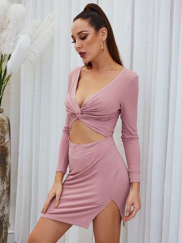 Pink Deep V-Neck Cut Out Back Twist Peekaboo Dress