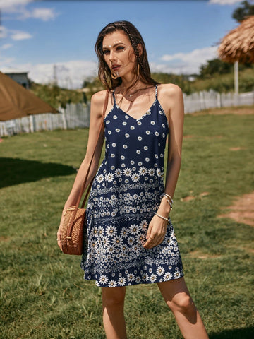 Navy Blue Sleeveless Daisy Floral Print Spaghetti Strap Cami Dress