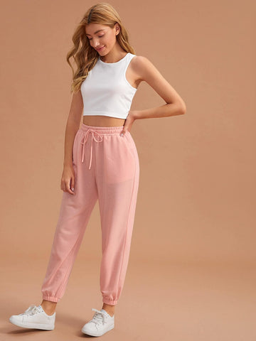 Round Neck Sleeveless Tank Top With Drawstring Waist Trousers Sleepwear Set