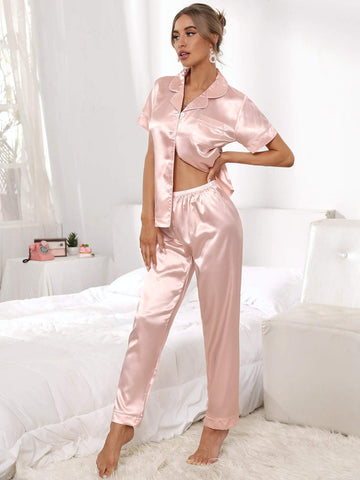 Short Sleeve Button Front Satin Sleepwear Set