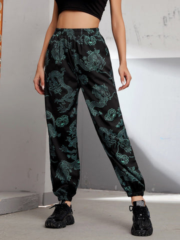 Black Floral & Dragon Print High Elastic Waist Sweatpants