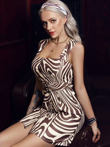 Square Neck Sleeveless Abstract Stripe Self Tie Slim Fit Dress