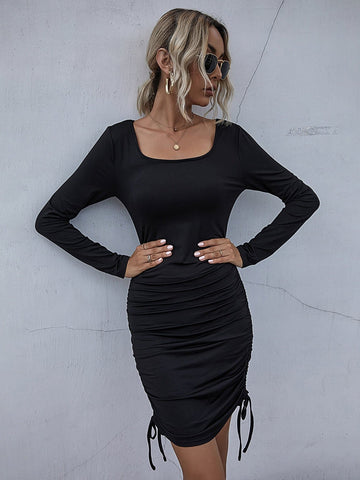 Scoop Neck Drawstring Ruched Side Slim Fit Dress