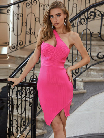 Neon Pink One Shoulder Sleeveless Rib-knit Bandage Slim Fit Dress