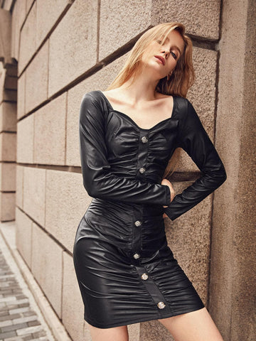Black Button Front Ruched PU Leather Slim Fit Dress