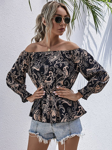 Paisley Print Off Shoulder Peplum Blouse Top