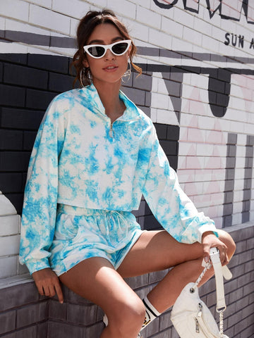 Blue White Funnel Neck Tie Dye O-ring Zip Front Drop Shoulder Sweatshirt and Track Shorts