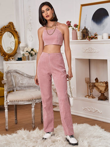 Dusty Pink Sleeveless Backless Knotted Cord Halter Top and Pants