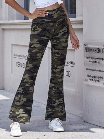 Wide Waistband Camo Flare Leg High Elastic Waist Pants