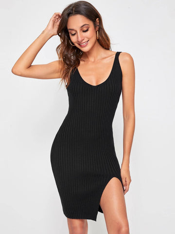 Black Sleeveless Scoop Neck Slit Hem Rib-knit Slim Fit Sweater Dress