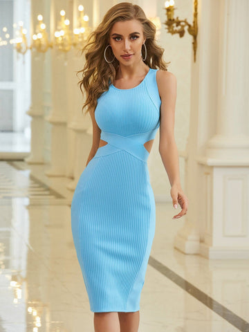 Scoop Neck Cut Out Split Hem Bandage Slim Fit Dress