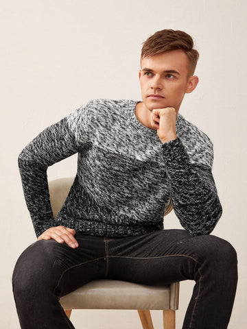 Grey Round Neck Space Dye Colorblock Sweater Pullover