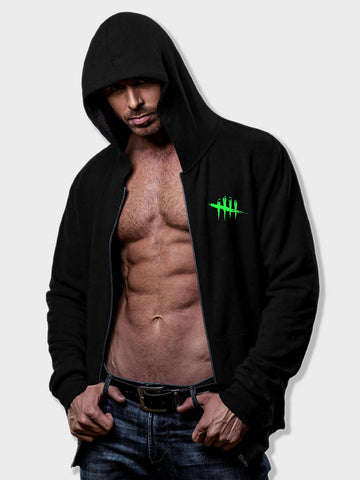 Black Graphic Print Zip Up Hoodie Sweatshirt