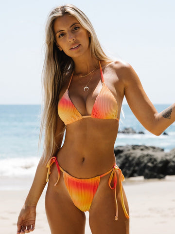 Velvet Ombre Halter Neck Triangle Tie Side Bikini Swimsuit