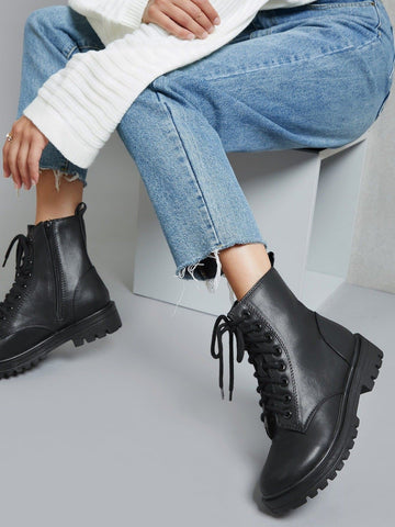 Round Toe Faux Leather Lace-Up Ankle Boots