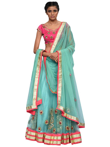Pista Green And Pink Lehenga By Archana Nallam