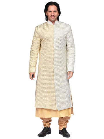 White And Golden Sherwani By Arshi Jamal