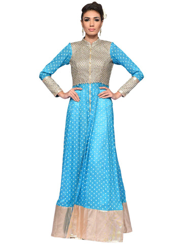 Aqua Blue And Golden Long Dress By Arun Dhall