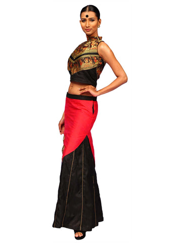 Black Kali Skirt With Baluchori Blouse by Chandri Mukherjee
