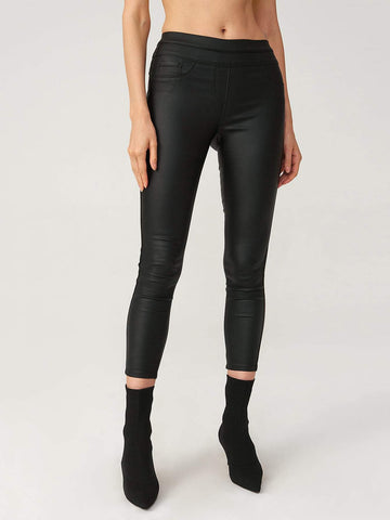 Black Leather Look Slim Fit Elastic Waist Cropped Jeans