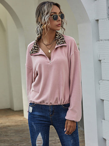 Dusty Pink Funnel Neck Drop Shoulder Leopard Colorblock Half Zipper Flannel Sweatshirt