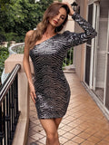 One Shoulder Puff Sleeve Geo Sequin Slim Fit Dress