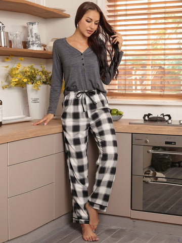 V-Neck Half Button Top and Plaid Trousers Pyjama Sleepwear Set