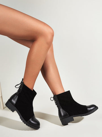 Black Round Toe Lace-Up Mid Heel Ankle Boots