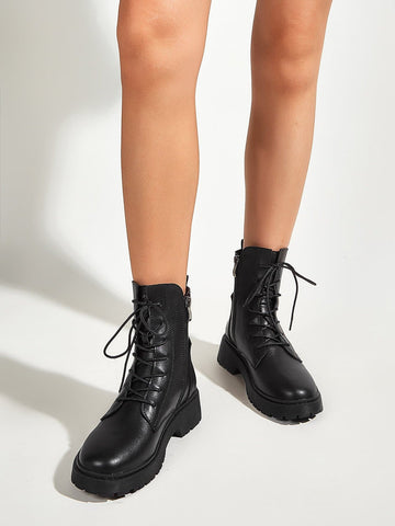 Black Chunky Lace-up Front Combat Ankle Boots