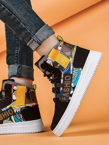 Black Letter Graphic High Top Sneakers