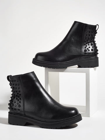 Black Spiked Chunky Pu Leather Mid Heel Decor Ankle Boots