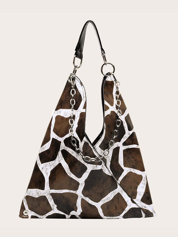 Brown Giraffe pattern Shoulder Bag