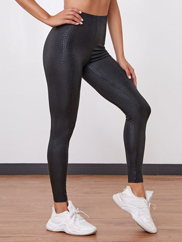 Black Crocodile High Waist Cropped Leggings