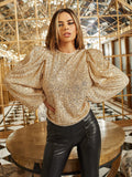 Round Neck Lantern Sleeve Sequin Top