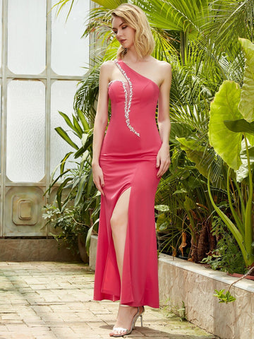 Pink One Shoulder Rhinestone Mesh Insert Split Thigh Slim Fit Dress
