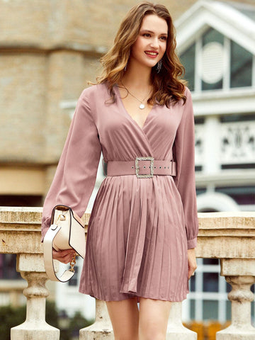 V-Neck Pleated Hem Belted Bishop Sleeve High Waist Solid Dress