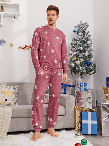 Round Neck Snowflake Print Top and Trousers Pyjama Sleepwear Set