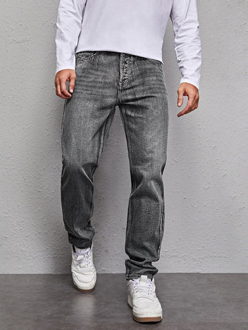 Snow Wash Straight Leg Zipper Fly Jeans