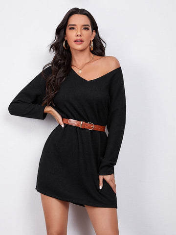 V-neck Drop Shoulder Sweater Dress