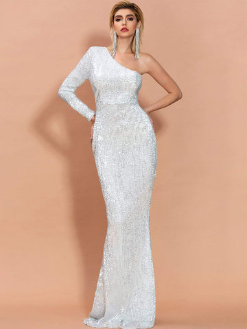 One Shoulder Sequin Slim Fit High Waist Mermaid Prom Dress