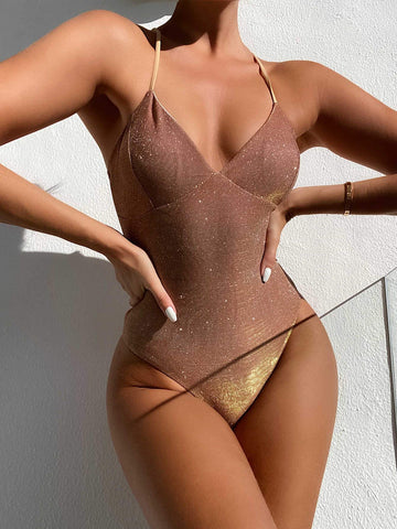 Spaghetti Strap Glitter High Leg One Piece Swimsuit