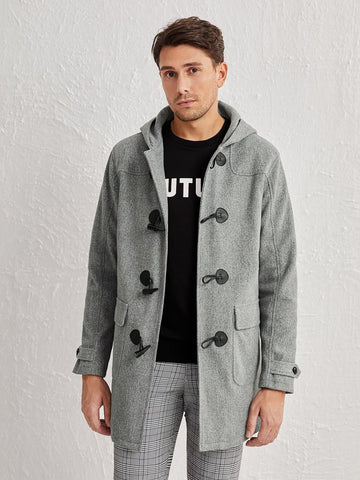 Single Breasted Horn Buckle Hooded Overcoat