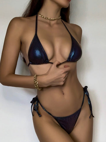 Metallic Triangle Tie Side Halter Neck Bikini Swimsuit