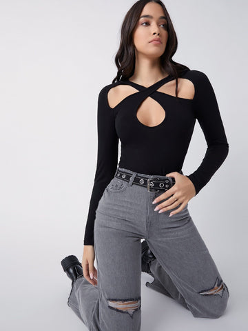 Slim Fit Cut Out Front Slim Top
