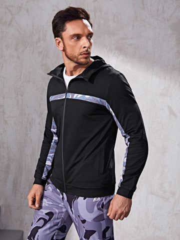 Contrast Camo Zip Up Sports Hooded Jacket