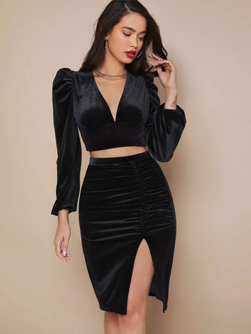 V-neck Puff Sleeve Velvet Slim Fit Crop Top and Ruched Split Thigh Skirt Set